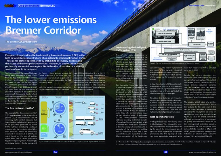 The lower emissions Brenner Corridor