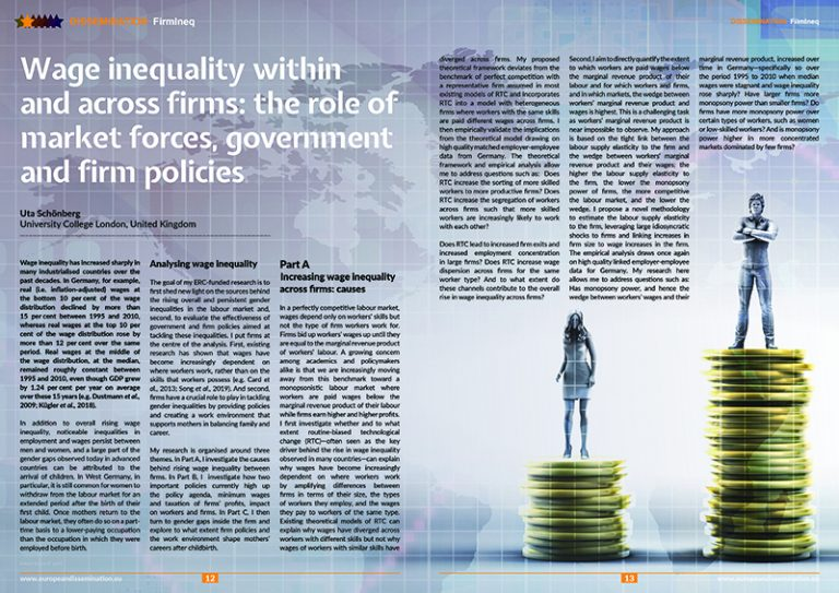 Wage inequality within and across firms: the role of market forces, government and firm policies